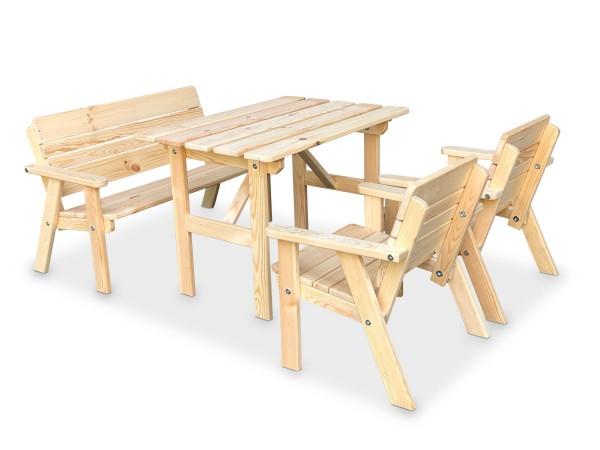 Kinder Sitzgarnitur 4-tlg. aus Holz, 2 Stühle, 1 Bank, 1 Tisch, unbehandelt