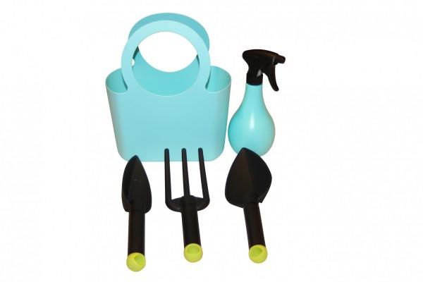 Kunststoff Gartengeräte Set - 5-teilig in aquamarina blau