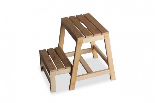 Tritt Hocker aus Buchen-Holz mit 2 Stufen, B38 x T54 x H45 cm