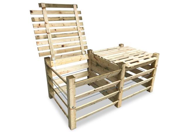 stabiler ECO Doppel-Komposter aus Holz mit Deckel ca. 1300 L