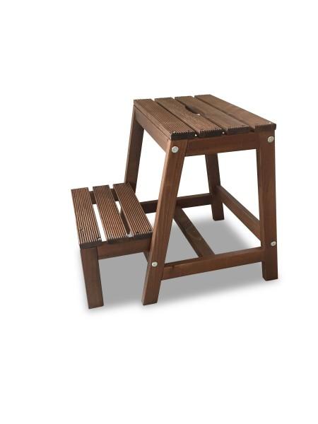 Tritt Hocker aus Buchenholz mit 2 Stufen, braun, B38 x T54 x H45 cm