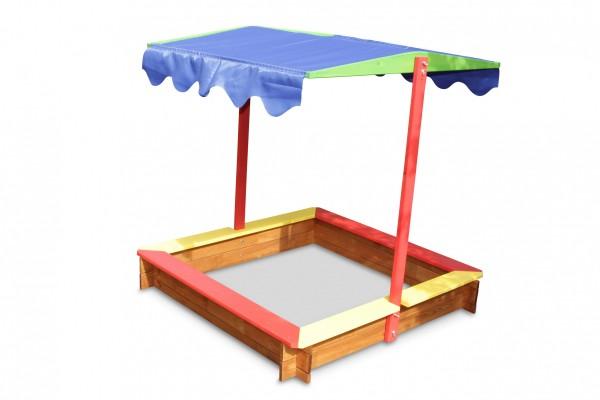 farbiger Sandkasten aus Holz mit Dach B118 x T118 x H120 cm