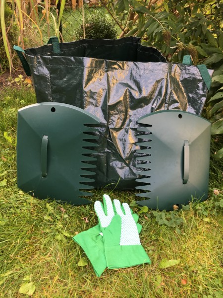 Gartenset 5-tlg. mit Laubsack, Handschuhen und Kunststoffschaufeln