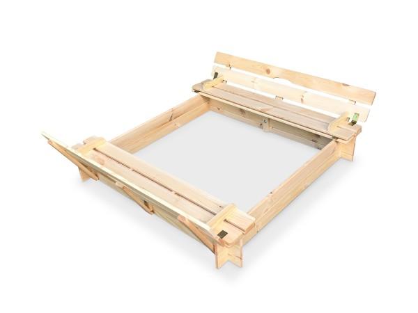 Sandkasten aus Holz mit Deckel und Bänken B118 x T118 x H20 cm natur
