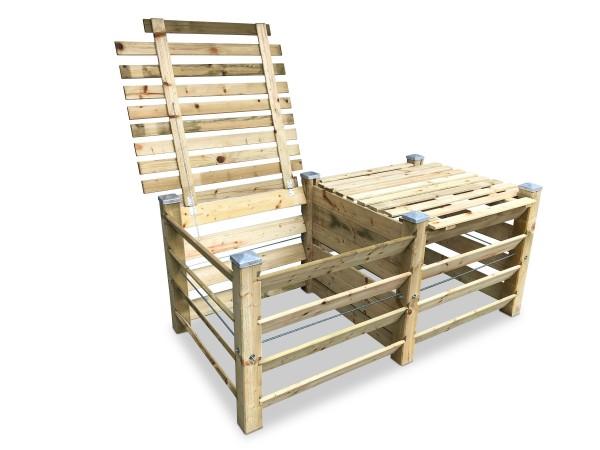 stabiler ECO Doppel-Komposter aus Holz mit Deckeln und 6 Kappen ca. 1300 L